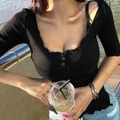 低胸上衣韓版21春夏新款浪漫優雅性感修身低胸半開領螺紋五分袖T恤女裝 快速出貨