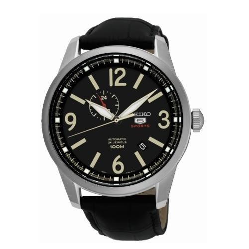 SEIKO 5號SPORTS雅痞時尚機械錶 /黑色/4R37-01D0L