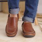 男士 簡約 真皮 休閒鞋/懶人鞋/工作鞋 咖《生活美學》