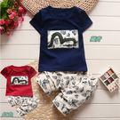 套裝 和風 扶桑花 國民服飾 短袖上衣+褲子 二色 寶貝童衣