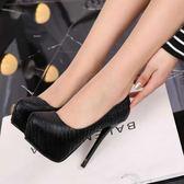 高跟鞋12cm夜場百搭防水臺高跟鞋女秋季新款恨天高細跟黑色高跟單鞋 可然精品