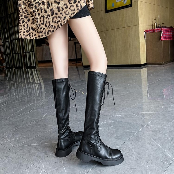 長靴女 靴子女2020秋冬新款平底英倫風高筒騎士不過膝長靴黑色馬丁靴帥氣