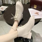 马丁靴 白色馬丁靴女英倫風2020新款春秋單靴粗跟黑色短靴帥氣機車靴小跟 茱莉亞