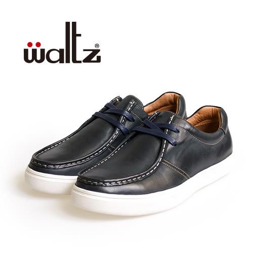 Waltz-仿舊復古感真皮休閒鞋622114-07(藍)