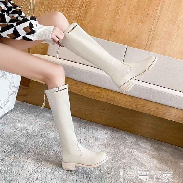 長筒靴 不過膝長靴女小個子中筒靴2021爆款冬加絨粗跟白色長筒高筒騎士靴 智慧