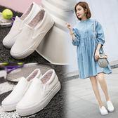 DE SHOP~(GG-1261)百搭小白帆布鞋一腳蹬女鞋韓版休閒學生白布鞋