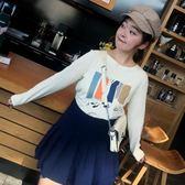 雙十二狂歡 大碼百分百自制大碼女裝胖MM秋裝新款2018韓版T恤印花長袖衛衣 挪威森林