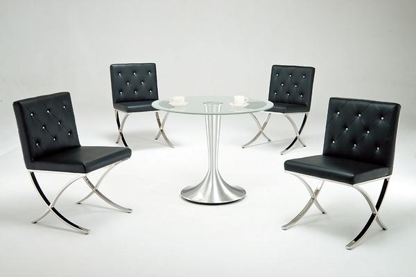 HY-752-4    6060時尚貝拉晶鑽皮椅 /  洽談椅 / 餐椅 - 黑皮 -不銹鋼腳-單台