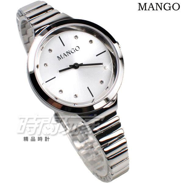 MANGO 浪漫風情 淑媛 鑲鑽時刻 不銹鋼 纖細手環 防水錶 女錶 白色 MA6713L-80