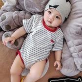 嬰兒三角哈衣 幼兒短袖 連體包屁衣 滿月寶寶夏裝衣服夏天