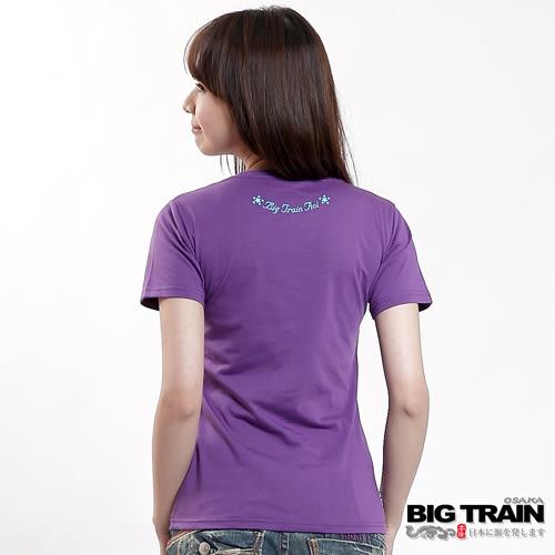 BIG TRAIN 夏之葵日式印花圓領T-女-紫色
