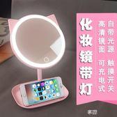 led化妝鏡帶燈 梳妝台式充電大號補光公主抖音少女心學生鏡子燈  享購