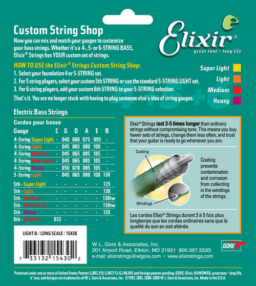 【敦煌樂器】Elixir 15430 Long Scale 貝斯第五單弦