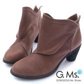 G.Ms. 全牛真皮三角側釦粗跟踝靴-咖啡