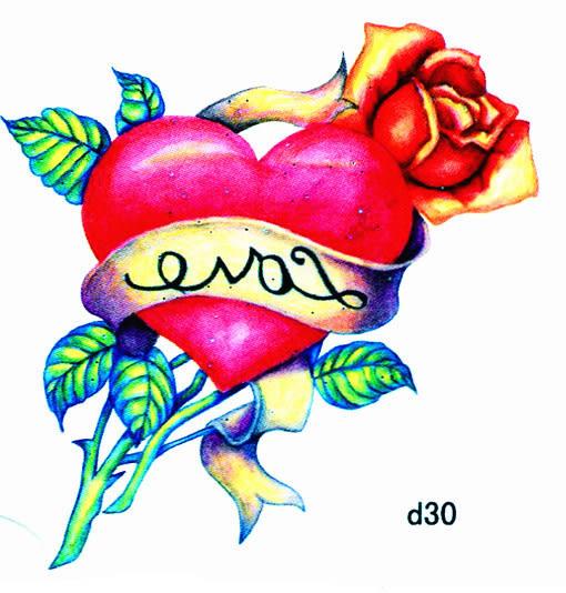 薇嘉雅 愛心  超炫圖案紋身貼紙 d30