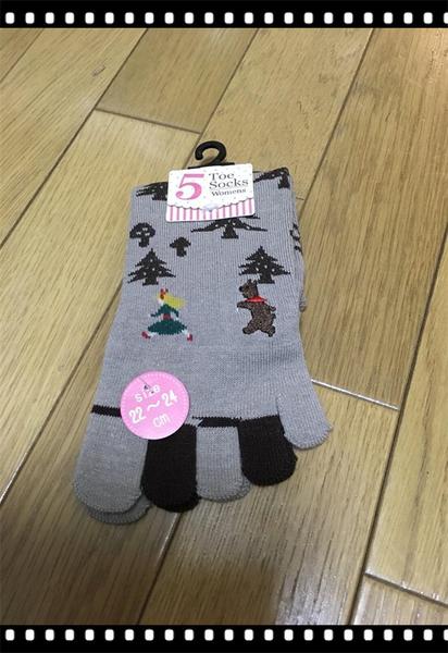 【京之物語】日本五指襪 大野狼小紅帽 女性五指襪 彈性襪(米色/咖啡色)