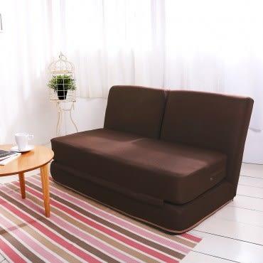 伊登 方塊酥 全獨立筒雙人沙發床(深咖)
