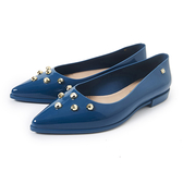 Petite Jolie 金屬鉚釘尖頭果凍娃娃鞋-湛藍