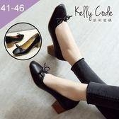 大尺碼女鞋-凱莉密碼-氣質小方頭蝴蝶結復古皮紋低跟高跟鞋4.5cm(41-46)【BB98-12】黑色