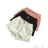 女童黑色白色牛仔短褲夏季純棉破洞兒童韓版中大童薄款熱褲子外穿   米娜小鋪