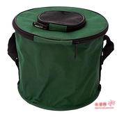 釣魚折疊桶 折疊釣魚水桶 活漁桶圓形魚桶牛津布小水桶垂釣 帆布釣魚桶