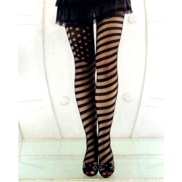 褲襪(P&W)30027星條紋-黑-F