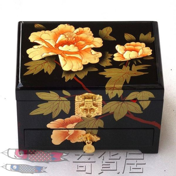 高檔首飾盒木質帶鎖結婚多層復古實木