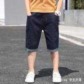 男童牛仔短褲兒童中大童寬鬆夏季休閒七分褲薄款男孩中褲五分褲
