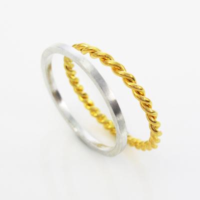 64DESIGN戒指 方線戒+麻花戒 925純銀戒指(雙件組)
