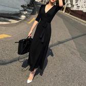 雙11限時優惠-洋裝 春夏新款歐洲站黑色氣質v領赫本開叉大碼長裙長款連身裙女潮