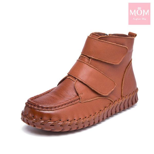 全真皮自然摔紋手工縫線魔鬼粘設計舒適短靴 棕 *MOM*