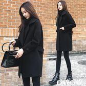 西裝外套 反季秋冬韓版寬鬆黑色呢子大衣中長款毛呢外套女潮愛丫愛丫