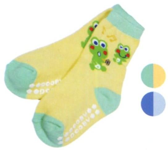 大眼蛙 羅紋雙色止滑襪  (藍/黃綠)  1~3歲用 D-7813