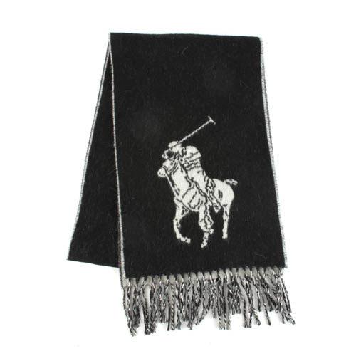 POLO RALPH LAUREN經典馬球大圖紋羊毛圍巾(黑/白)780907