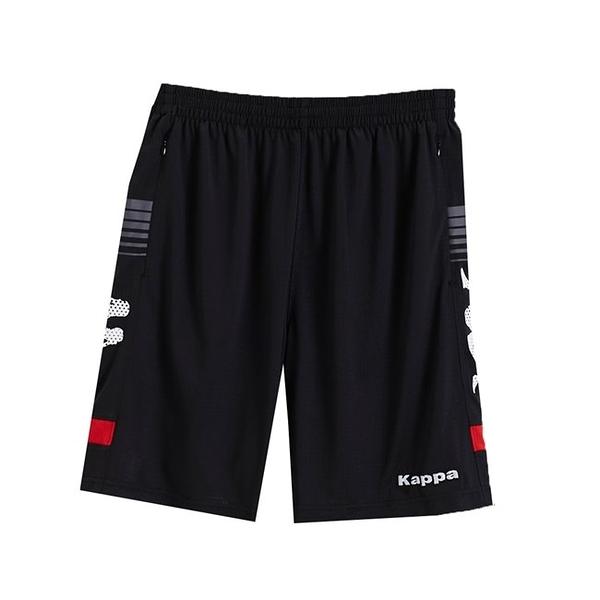 KAPPA義大利型男吸濕排汗速乾ALL DRY 彩色足球褲 黑 紅