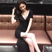 夜店性感女裝深v領氣質長裙修身顯瘦開叉包臀洋裝 全館免運