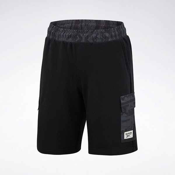 REEBOK 短褲 CASSIC LODGE 黑 灰圖騰 側邊小口袋 男 (布魯克林) GJ3604