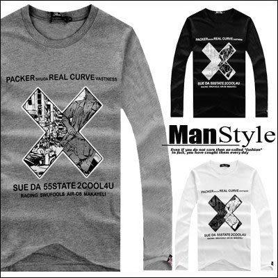 T恤ManStyle潮流嚴選字母X交叉街頭人物剪影彈性長袖T恤男【01B6605】