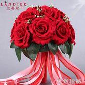 新娘結婚手捧花仿真玫瑰中式婚禮創意花球伴娘婚紗照攝影道具花紅   可然精品鞋櫃