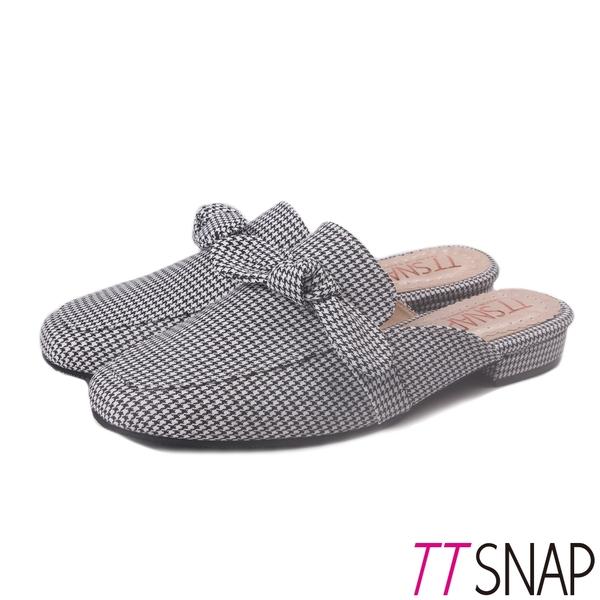 穆勒鞋-TTSNAP 時尚蝴蝶結千鳥格方頭鞋 黑
