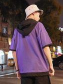 日系潮牌連帽短袖男假兩件寬鬆T恤ins男裝個性上衣青少年帶帽半袖 免運直出交換禮物