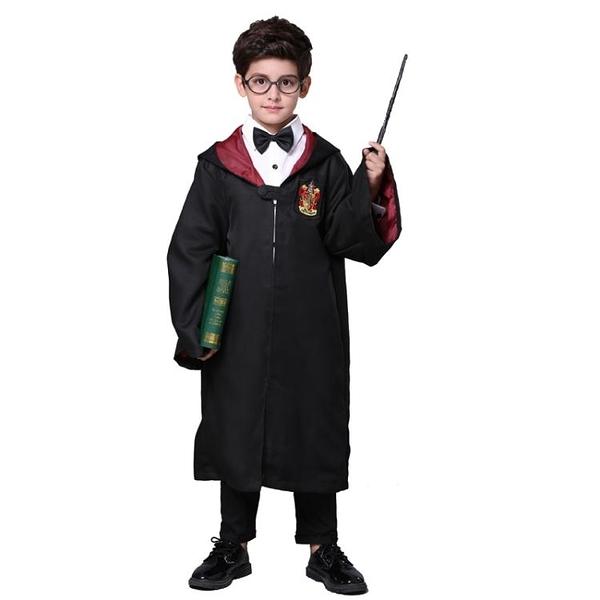 萬聖節兒童魔法師裝扮服裝男童哈利波特cos 長袍披風巫師表演服飾 亞斯藍