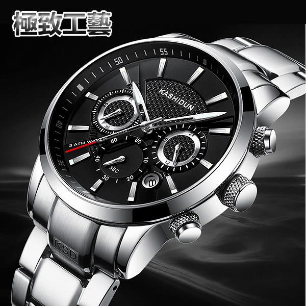 【美國熊】極致工藝 三眼計時跑秒 日期顯示 賽車風格 不鏽鋼錶帶 腕錶 生日禮物 [KAS-929]