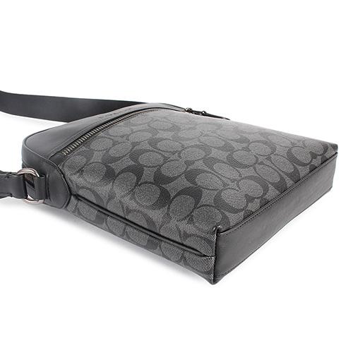 COACH 滿版LOGO拼接皮革斜背方包(灰黑色)196058-1