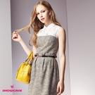 【SHOWCASE】氣質蕾絲襯衫領格紋合身無袖洋裝(卡)