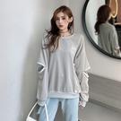 VK精品服飾 韓國學院風開口袖大碼寬鬆休閒單品長袖上衣