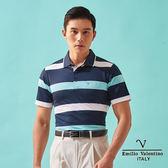 【Emilio Valentino】都會型男休閒機能POLO衫 - 白/藍/綠