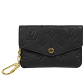 Louis Vuitton LV M60633 經典花紋全皮革壓紋鑰匙零錢包.黑【茱麗葉精品】