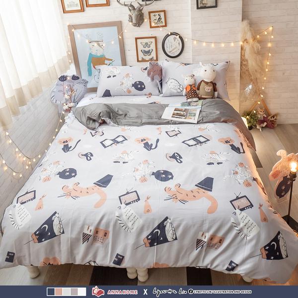 貓咪盆栽 Q3雙人加大床包與雙人鋪棉兩用被四件組100%精梳棉(60支)台灣製棉床本舖