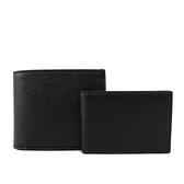 【COACH】防刮皮革素面對開短夾(附證件夾)(黑色) F59112 BLK